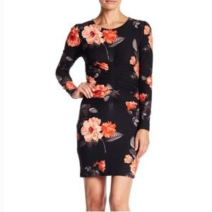 Planet Gold Ruched Black Floral Print Long Sleeve